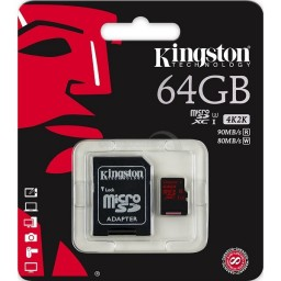 MicroSDXC Kingston 64GB 4K Ultra HD 80MB/s