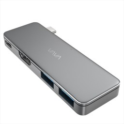 Hub USB C, VAVA VA-UC003 3in1 Silver, 2x USB 3.0, Rezolutie 4K HDMI, Transfer Rapid, LED Indicator, USB-C Port de Incarcare,