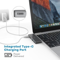 Hub USB C, VAVA 3in1 Silver, 2x USB 3.0, Rezolutie 4K HDMI, Transfer Rapid, LED Indicator, USB-C Port de Incarcare, VA-UC003