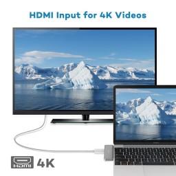 Hub USB C, VAVA 3in1 Silver, 2x USB 3.0, Rezolutie 4K HDMI, Transfer Rapid, LED Indicator, USB-C Port de Incarcare, VA-UC003