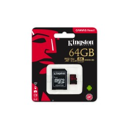 Kingston Canvas React MicroSDXC 64GB, 100MB/s citire/ 80MB/s scriere, U3, UHS-I, V30, A1 Card + Adaptor SD