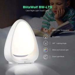 Lampa de Veghe BlitzWolf cu reglare touch a Intensitatii, lumina in diferite culori.