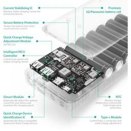 Baterie Externa RavPower 20100mAh 2 X USB + 1XUSB-C, Qualcomm QuickCharge QC3.0, model RP-PB043